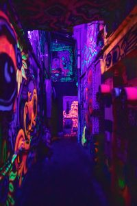blacklit graffiti walls