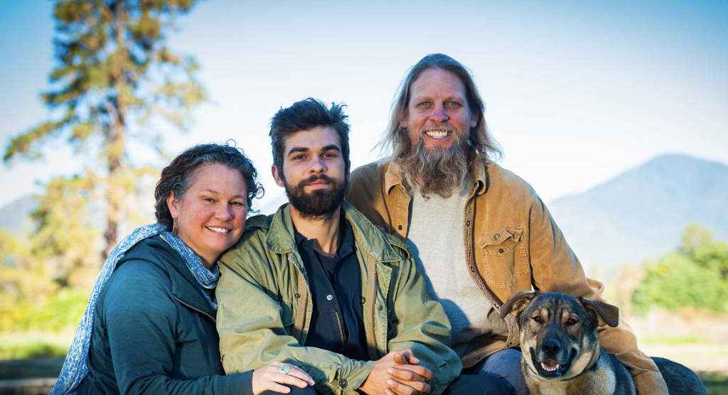 Elise and Jeff Higley pictured with their son and dog. Photo taken from Oshala Farm website.