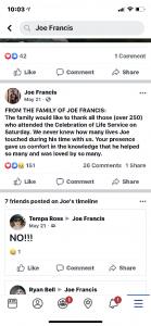 Joe Francis facebook post