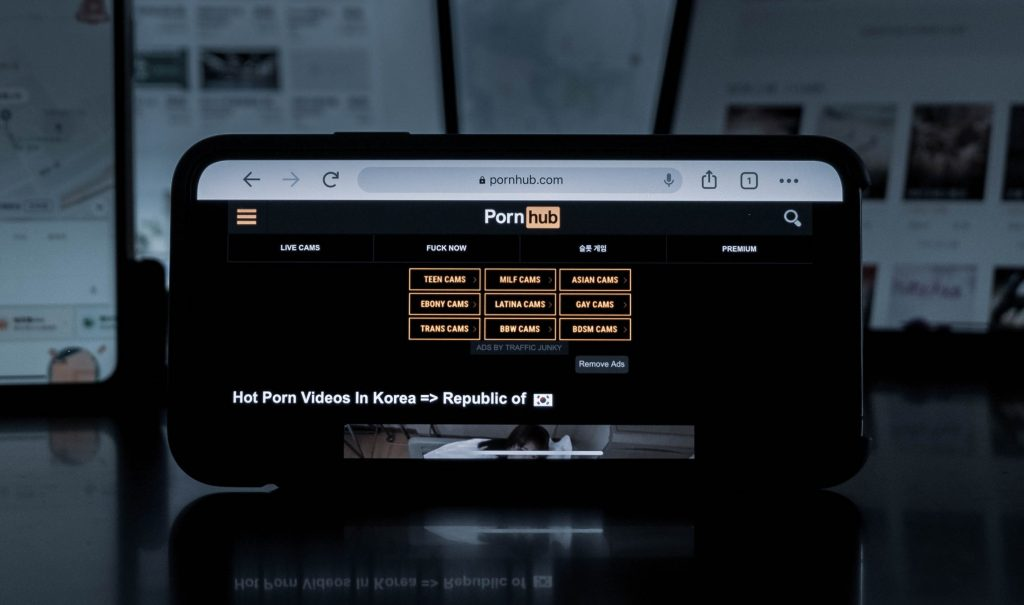 pornhub on screen