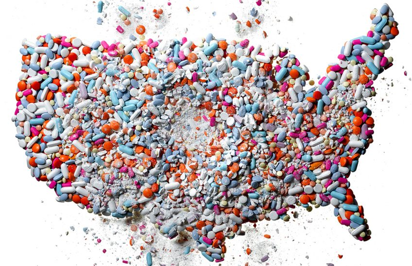 A map of the United States covered in prescription opioids.
