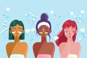 three cartoon girls doing skincare treatments