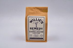 a brown bag of Willie Nelson's CBD Coffee product.