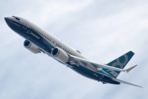 The Boeing 737 MAX in flight.