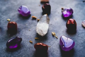 purple and white heart shaped stones