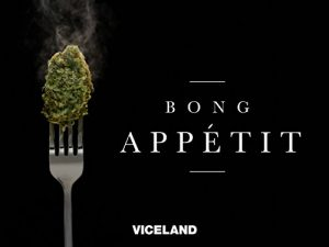 """Cannabis nugget on fork next to text that reads """"Bong Appetit"""""""