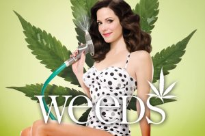 Nancy Botman posing in a swimsuit with a lawn hose against a giant cannabis leaf