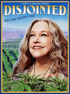 Kathy Bates smiling against a field of cannabis